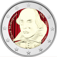 San Marino 2 € 2016 William Shakespeare väritetty