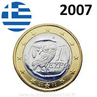 Kreikka 1 € 2007 Pallas Athenan pöllö UNC