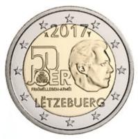 Luxemburg 2 € 2017 Vapaaehtoinen asepalvelus 50 v.