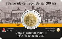 Belgia 2 € 2017 Liégen yliopisto 200 v. coincard BU