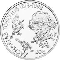 Suomi 20 € 2018 Z. Topelius numeroituna lasivitriinissä, Proof