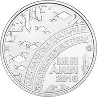 Suomi 20 € 2018 Saamelaiskulttuuri numeroituna lasivitriinissä, Proof