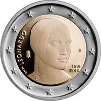 Italia 2 € 2019 Leonardo da Vinci 500 v. Proof