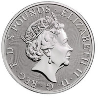 Britannia 5 £ 2019 Queen's Beast Yale of Beaufort 2oz Ag