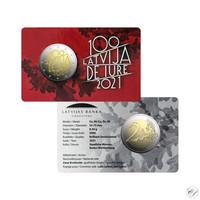 Latvia 2 € 2021 De Iure 100 BU coincard