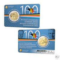 Belgia 2 € 2021 Talousliitto 100 vuotta BU coincard