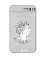 Australia 2021 Lohikäärme hopeaharkko BU 1oz