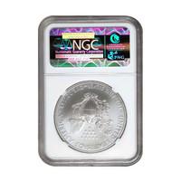 Yhdysvallat 2018 Silver Eagle NGC MS69 hopearaha