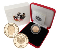 Monaco 20 € 2008 Albert II Au PROOF