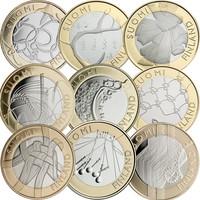 Suomi 5 € 2010-2011 Maakuntarahat kaikki 9 kpl