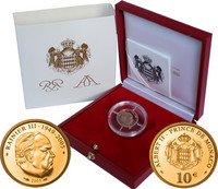 Monaco 10 € 2005 Rainier III Au PROOF