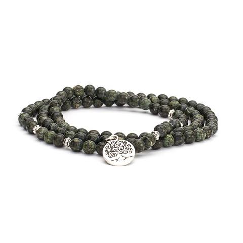 Mala long bracelet, green serpentine (fashion jewelry)