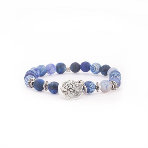 Mala-rannekoru - Sininen akaatti, 21 helmeä