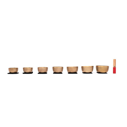 Singing bowl set consisting of 7 singing bowls