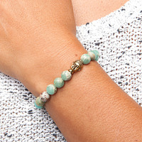 Mala bracelet, serpentine pastel-colored, buddha