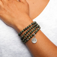 Mala long bracelet, green serpentine (fashion jewelry)