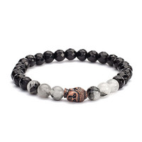 Mala bracelet, Black Rutilated Quarz & Black Agate