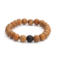 Mala bracelet, wooden beads with black agate