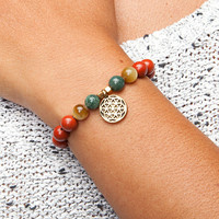 Mala bracelet - Red Jasper, Moss Agate & Tiger Eye