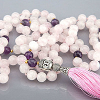 Mala - Rose Quartz and Amethyst, 108 beads