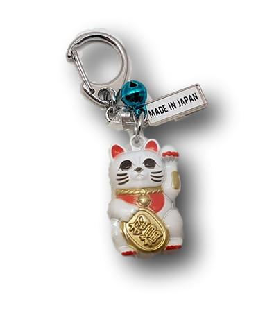 Key Chain Lucky Cat White