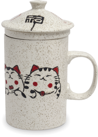 Ceramic Tea Cup with Filter, Cat