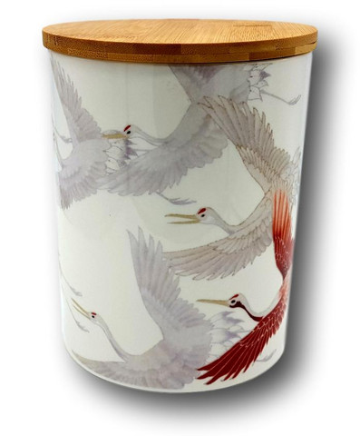 Japanese Jar, Crane Paintings