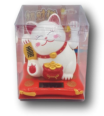 Solar-Powered Maneki-Neko (White)