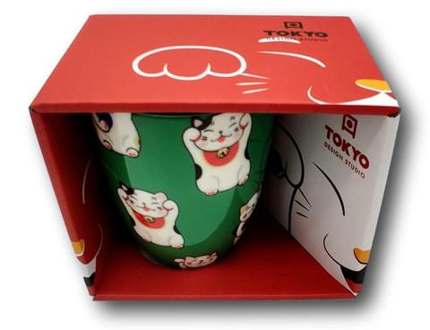 Kawaii Lucky Cat muki / lahjapakkauksen vihreä  kissa