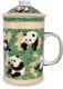 Ceramic Tea Cup with Filter Green Panda