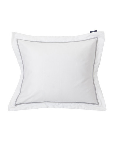 Lexington White/Gray Sateen Star Framed Pillowcase 50x60