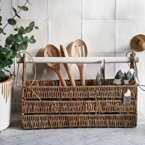 RIVIÈRA MAISON RUSTIC RATTAN ORGANISE YOUR CUTLERY HOLDER REC