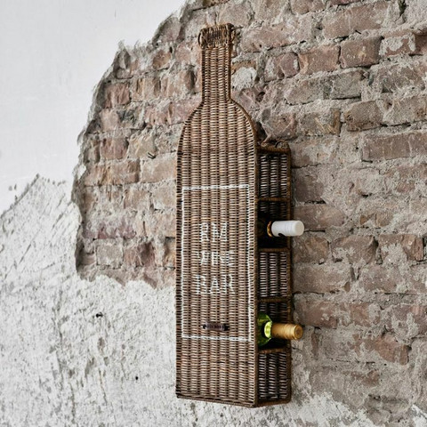 RIVIÈRA MAISON RUSTIC RATTAN WINE BAR BOTTLE HOLDER