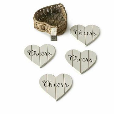RIVIERA MAISON  RUSTIC RATTAN HEART COASTERS