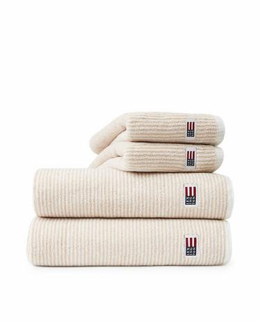 LEXINGTON ORIGINAL TOWEL WHITE/TAN STRIP 30X50