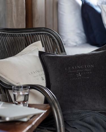 LEXINGTON HOTEL VELVET SHAM WITH EMBROIDERY, BEIGE 50X50
