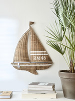 RIVIERA MAISON RUSTIC RATTAN SAILING BOAT WALL DECORATION