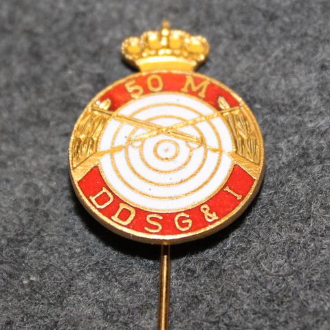 D.d.s.g. & i, De Danske Skytte-, Gymnastik- og Idrætsforeninger, ampumamerkki, 50m punainen kruunulla