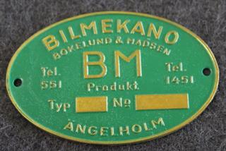 BM Bilmekano, Bokelund & Madsen, Ängelholm.