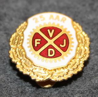 F.V.J.D. Foreningen af Værkstedsfunktionærer i Jernindustrien  i Danmark, rautatyöläisten liitto, 25v