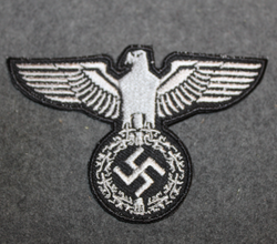 Reichsadler, 3rd reich emblem. 100x60mm Silver on Black, sew on patch