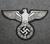 Reichsadler, kolmannen valtakunnan vaakuna. 100x60mm, Hopea mustalla pohjalla. Ommeltava kangasmerkki