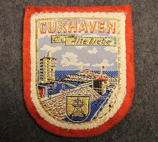 Cuxhaven, matkamuisto kangasmerkki, huopa.