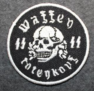Waffen SS totenkopf, 50mm ommeltava kangasmerkki