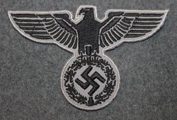 Reichsadler, 3rd reich emblem. 100x60mm Black on gray, sew on patch