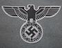 Reichsadler, kolmannen valtakunnan vaakuna. 30x19cm, Musta harmaalla pohjalla. Ommeltava kangasmerkki