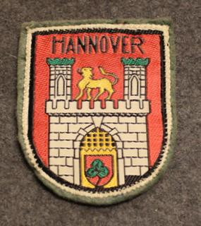 Hannover, matkamuisto kangasmerkki. Huopapohja.