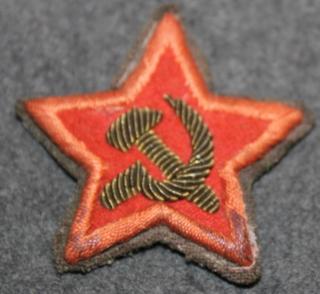 CCCP Politrukin Punatähti hihaan, metallikirjailtu kangas, sotien aikainen.