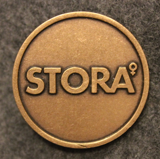 Stora. Swedish paper and pulp industry corporation. 30mm, cap button