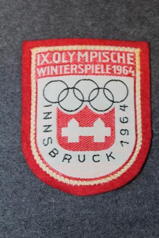 IX olympische Winterspiele 1964, Innsbruck, matkamuisto kangasmerkki.